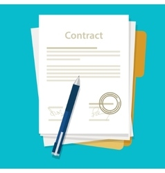 Signed paper deal contract icon agreement pen on vector