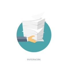Paperwork flat background with paper office and vector