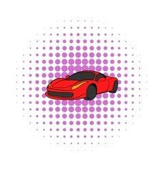 Red car icon comics style vector