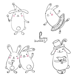 Funny bunnies on a white background vector