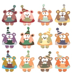 bears in winter hats colored on the white vector image vector image