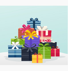 Big pile of colorful gifts with bows vector