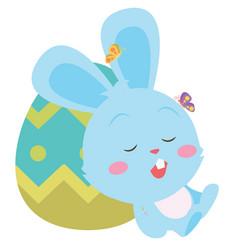 bunny sleeping in egg character vector image vector image