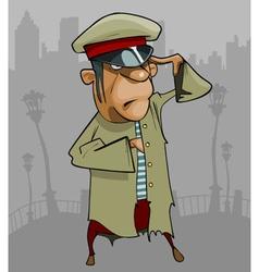 cartoon man in a ragged uniform salutes vector image