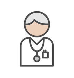 doctor icon with grey hair on white background vector image vector image