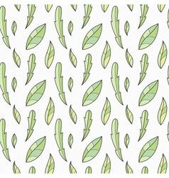 Doodle seamless pattern with various doodle leaves vector
