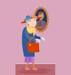 Flat style old woman vector