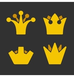 Gold crown icons set on dark background vector