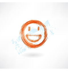 Happy grunge icon vector