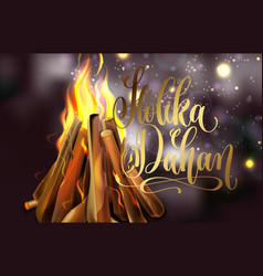 Holika dahan greeting card design with a realistic vector