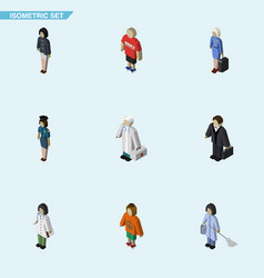 Isometric people set of girl doctor medic and vector