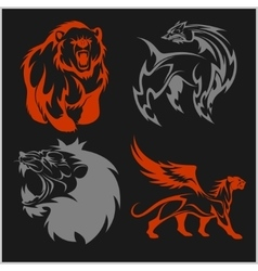 Lion head griffin fyl bear tattoos and designs vector