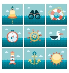 Marine flat icons set vector image