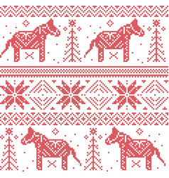 Nordic Christmas pattern with stars snowflakes vector image