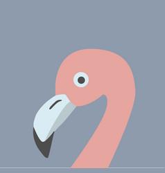 pink flamingo head retro style blue background vector image