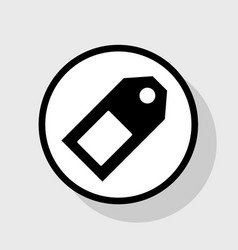 Price tag sign flat black icon in white vector