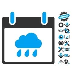 Rain cloud calendar day icon with bonus vector