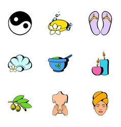 Sauna icons set cartoon style vector