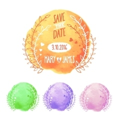 Save The Date Watercolor Set vector image vector image