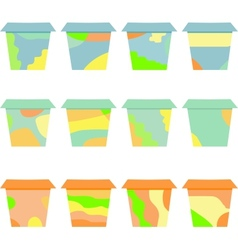 set of decorative flower vintage pots vector image