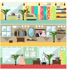 Set of fashion atelier interior flat vector