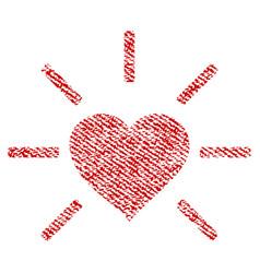 Shiny love heart fabric textured icon vector