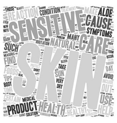 Skin care and health tips for sensitive skin text vector