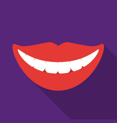 Smile with white teeth icon in flat style isolated vector