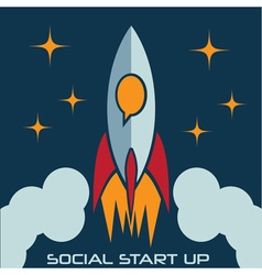 Social start up flat design concept with rocket vector