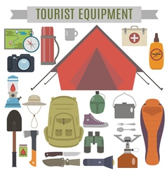 Tourist Equipment vector image vector image