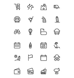 Travel line icons 6 vector