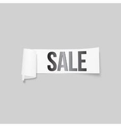 White sale sign paper banner ribbon with vector image