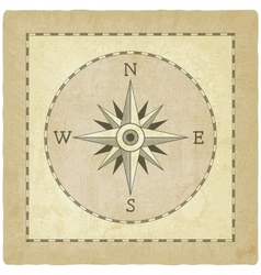Wind rose on old background vector image vector image