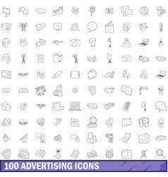 100 advertising icons set outline style vector image