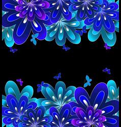Flower blue on black background vector image