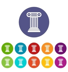 Roman column set icons vector