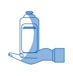 Hand holding pet shampoo symbol of animal care vector