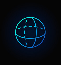 Blue volume sphere outline icon vector