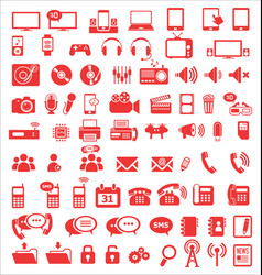 Media and communication icons red edition vector