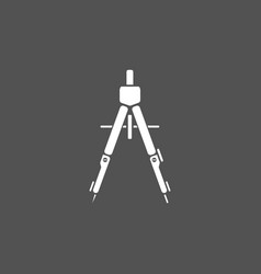 drawing compass icon on a dark background vector image