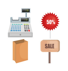 Supermarket cash register with products vector