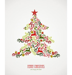 Merry Christmas pine tree greting card EPS10 file vector image