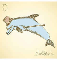 Sketch fancy dolphin in vintage style vector