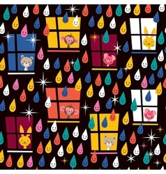 Cute animals watching rain pattern 2 vector
