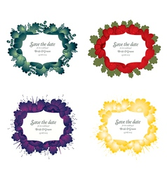 Set of flower wedding card vector