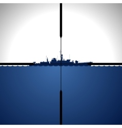Ship in sight periscope vector