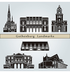 Gothenburg landmarks and monuments vector