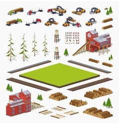 Lumber mill construction set vector