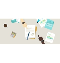 Sign paper deal contract agreement hand pen on vector