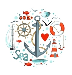 Collection of nautical elements in a circle shape vector